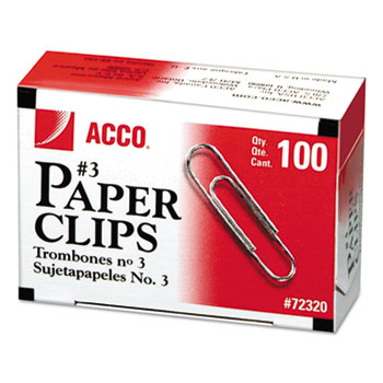 ACCO® Smooth Economy Paper Clip, Steel Wire, No. 3, Silver, 100/Box, 10 Boxes/Pack