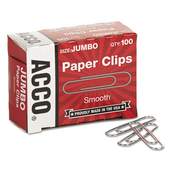 Smooth Economy Paper Clip, Steel Wire, Jumbo, Silver, 100/Box, 10 Boxes/Pack