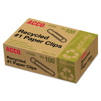 ACCO® Recycled Paper Clips, No. 1 Size, 100/Box, 10 Boxes/Pack
