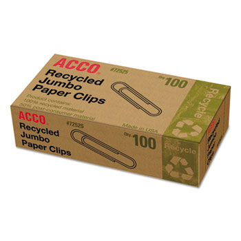 ACCO® Recycled Paper Clips, Jumbo, 100/Box, 10 Boxes/Pack