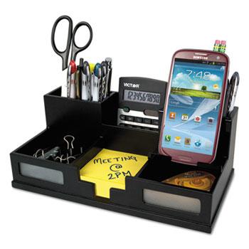 Victor® Midnight Black Desk Organizer with Smartphone Holder, 10 1/2 x 5 1/2 x 4, Wood