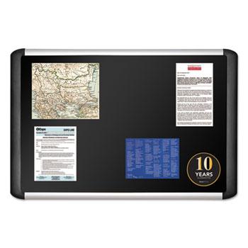 MasterVision Black fabric bulletin board, 24 x 36, Silver/Black