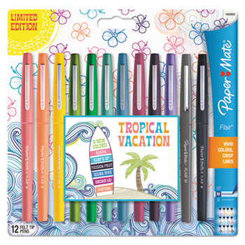 Paper Mate® Flair Tropical Vacation Pen, Assorted Colors, Medium, 12/Pack