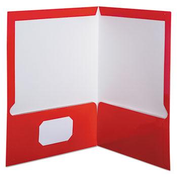 Oxford™ High Gloss Laminated Paperboard Folder, 100-Sheet Capacity, Red, 25/Box