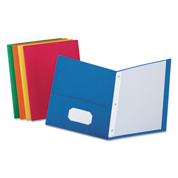 """Twin-Pocket Folders with 3 Fasteners, Letter, 1/2"""" Capacity, Assorted, 25/Box"""