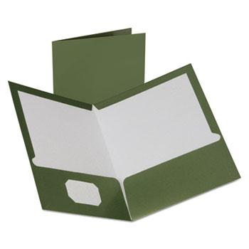 Oxford™ Two-Pocket Laminated Folder, 100-Sheet Capacity, Metallic Green