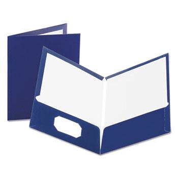 Oxford™ High Gloss Laminated Paperboard Folder, 100-Sheet Capacity, Navy, 25/Box