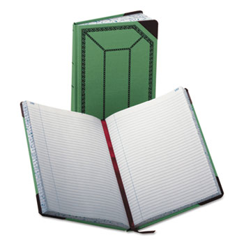 Boorum & Pease® Record/Account Book, Record Rule, Green/Red, 300 Pages, 12 1/2 x 7 5/8