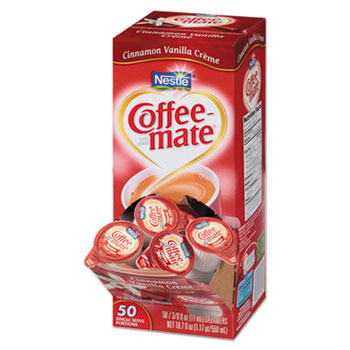 Cinnamon Vanilla Liquid Coffee Creamer, 0.38 oz. Single-Serve Cups, 50/BX