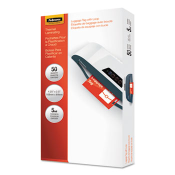 Fellowes® Laminating Pouches, 5mil, 4 1/4 x 2 1/2, Tag Size, 50/Pack
