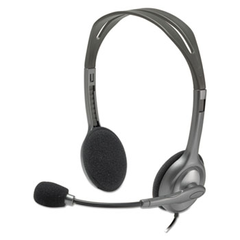 Logitech® H111 Binaural Over-the-Head, Stereo Headset, Black/Silver