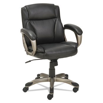 Alera Veon Series Low-Back Leather Task Chair, Supports up to 275 lbs., Black Seat/Black Back, Graphite Base