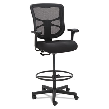 "Alera Elusion Series Mesh Stool, 31.6"" Seat Height, Supports up to 275 lbs., Black Seat/Black Back, Black Base"