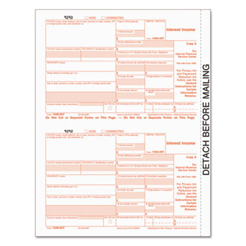 TOPS™ 1099-INT IRS Approved Tax Forms, 5 1/2 x 8 1/2, Five-Part Carbonless, 24 Forms