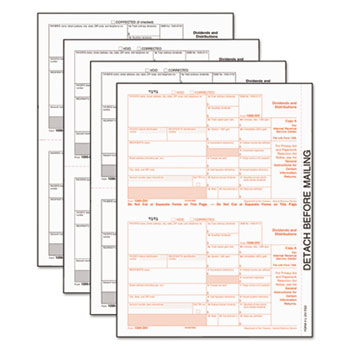 1099-Div Tax Forms, 5-Part, 5 1/2 X 8, Inkjet/laser, 48 1099s & 1 1096, 24 Forms/Pack