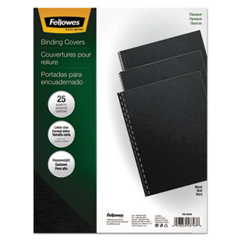 """Fellowes® Futura Binding System Covers, Square Corners, 11"""" x 8 1/2"""", Black, 25/Pack"""