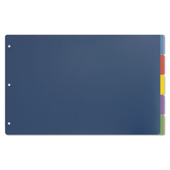 Tabloid-Size Poly Index Divider, 5-Tab, Multicolor Colors