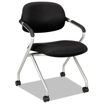 HON® VL303 Series Nesting Arm Chair, Black/Silver