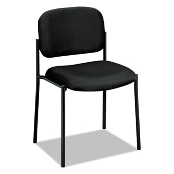 VL606 Series Stacking Armless Guest Chair, Black Fabric