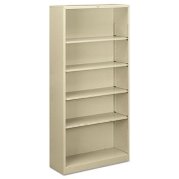 Metal Bookcase, Five-Shelf, 34-1/2w x 12-5/8d x 71h, Putty