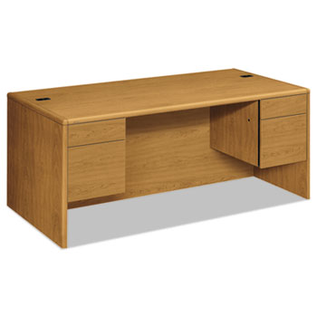 HON® 10700 Series Desk, 3/4 Height Double Pedestals, 72w x 36d x 29 1/2h, Harvest