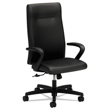 HON® Ignition Series Executive High-Back Chair, Black Leather Upholstery