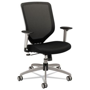 HON® Boda Series High-Back Work Chair, Padded Mesh Seat, Mesh Back, Black