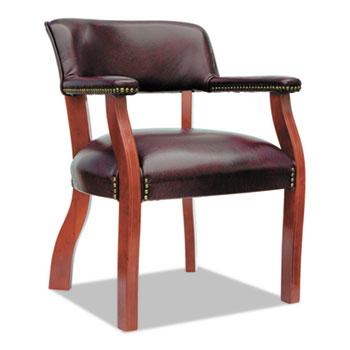 "Alera Traditional Series Guest Arm Chair, 24"" x 24.5"" x 29.5"", Oxblood Burgundy Seat/Oxblood Burgundy Back, Mahogany Base"