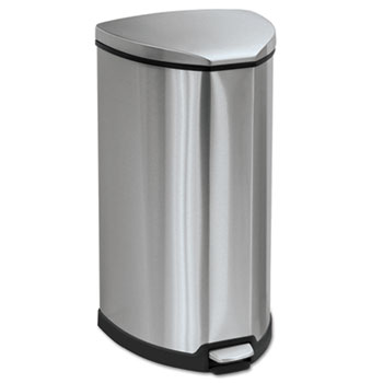 Safco® Mayline® Step-On Waste Receptacle, Triangular, Stainless Steel, 10gal, Chrome/Black