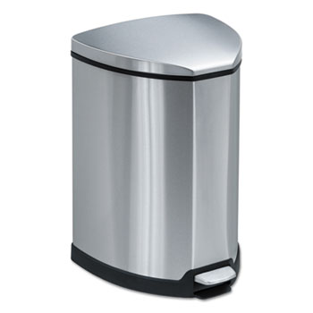 Safco® Mayline® Step-On Waste Receptacle, Triangular, Stainless Steel, 4gal, Chrome/Black