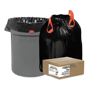 Heavy-Duty Bags, 33gal, 1.2mil, 38 x 33 1/2, Black, 150/Box