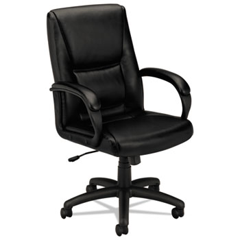 VL161 Series Executive Mid-Back Chair, Black Leather