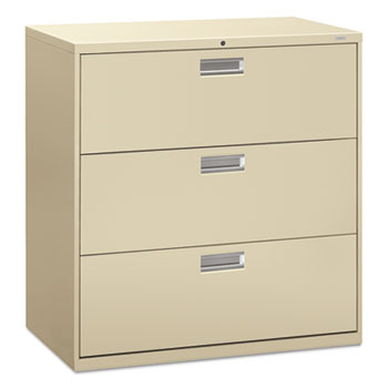 HON® 600 Series Three-Drawer Lateral File, 42w x 19-1/4d, Putty