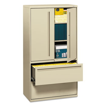 HON® 700 Series Lateral File w/Storage Cabinet, 36w x 19-1/4d, Putty