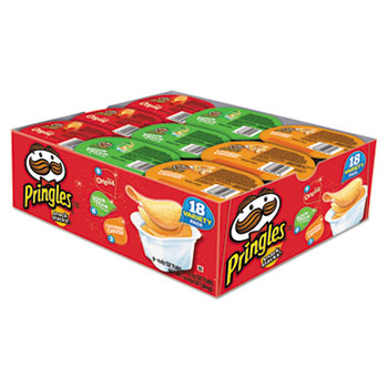 Pringles® Potato Chips, Variety Pack, 0.74 oz Canister, 18/BX