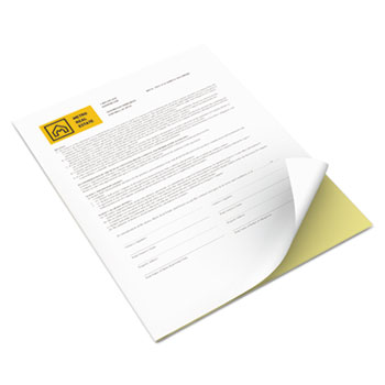 """Xerox® Multipurpose Carbonless Paper; 8 1/2"""" x 11"""" 2-Part Reverse, Canary/White, 2,500/CT"""