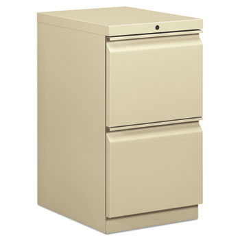 HON® Efficiencies Mobile Pedestal File w/Two File Drawers, 19-7/8d, Putty