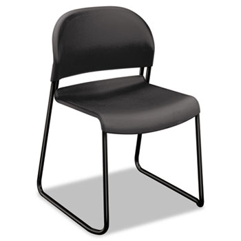 GuestStacker® Series Chair, Charcoal with Black Finish Legs, 4/Carton