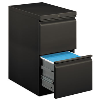 Efficiencies Mobile Pedestal File w/Two File Drawers, 22-7/8d, Charcoal