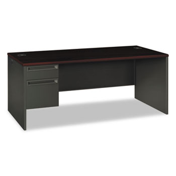 HON® 38000 Series Left Pedestal Desk, 72w x 36d x 29-1/2h, Mahogany/Charcoal