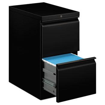 HON® Efficiencies Mobile Pedestal File w/Two File Drawers, 22-7/8d, Black