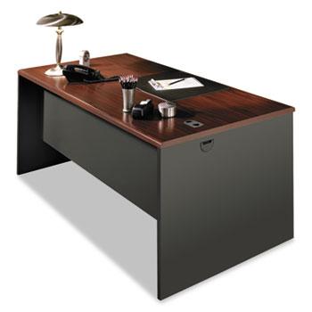 HON® 38000 Series Desk Shell, 60w x 30d x 29-1/2h, Mahogany/Charcoal