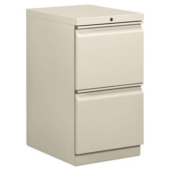 HON® Efficiencies Mobile Pedestal File w/Two File Drawers, 19-7/8d, Light Gray