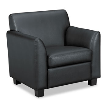VL870 Series Tailored Black Leather Club Chair, Black Wood Legs