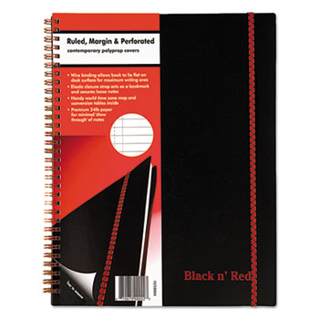Black n' Red™ Twin Wire Poly Cover Notebook, Legal Rule, 11 x 8 1/2, 70 Sheets