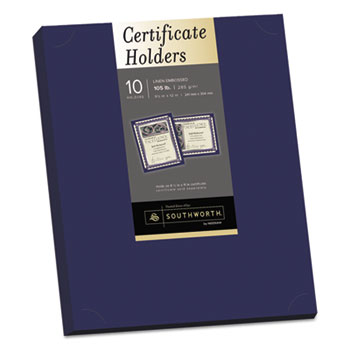 Certificate Holder, Navy, Linen, 105 lbs., 12 x 9-1/2, 10/Pack