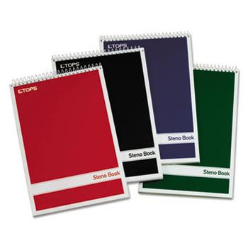 TOPS™ Steno Book w/Assorted Colored Covers, 6 x 9, Green Tint, 80 Sheets, 4 Pads/Pack