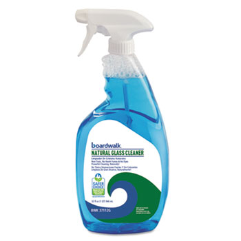 Natural Glass Cleaner, 32 oz., Spray Bottle, Unscented 12/CT