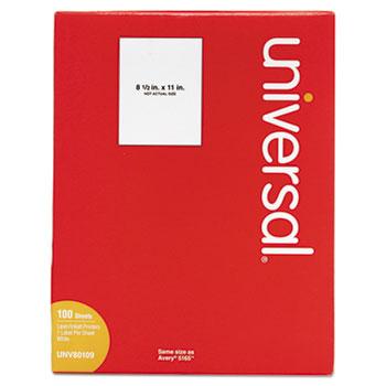 Universal® White Labels, Inkjet/Laser Printers, 8.5 x 11, White, 100/Box
