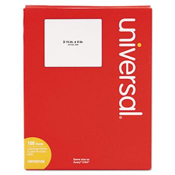 Universal White Labels, Inkjet/Laser Printers, 3.33 x 4, White, 6/Sheet, 100 Sheets/Box